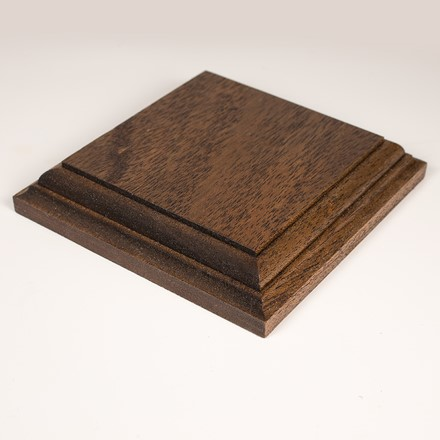 Square display base in african mahogany 1079