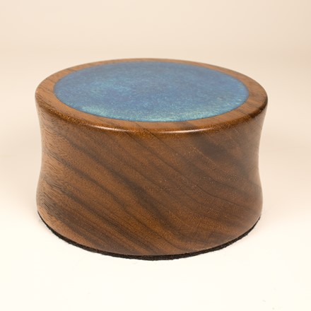Display base blue resin and walnut 1054