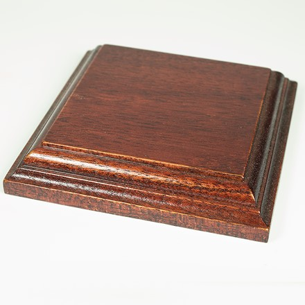Square display base in african mahogany 1073