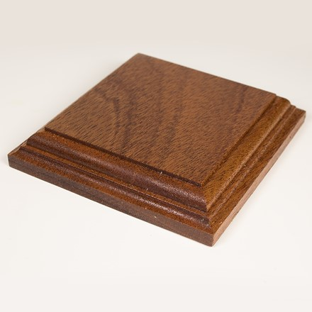 Square display base in african mahogany 1074